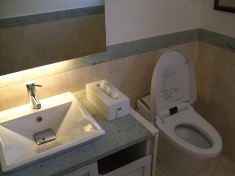 清潔な洗面台とトイレ